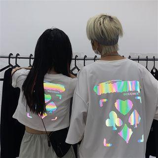 Porstina - 反光印花短袖T裇/短袖短款T裇