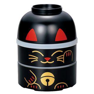Hakoya - Hakoya Big Kokeshi 2 Layers Lunch Box Lucky Cat Black