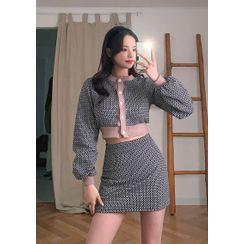 chuu - Geo Pattern Knit Set : Crop Cardigan + Matching Miniskirt