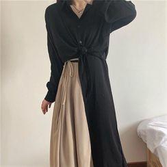 Zepto - Long-Sleeve Cropped Shirt / Spaghetti Strap Two Tone Midi Dress