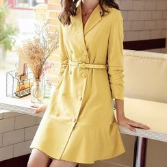 KANF - Double-Breasted Mini A-Line Coat Dress