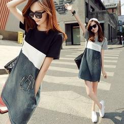 Frigga - Color-Block Denim Mini Dress