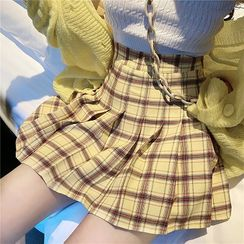 Attune - 格子高腰打褶襉裙