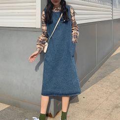 ZENME - 牛仔背带连衣中裙