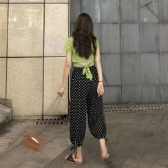 Carmenta - Set: Short-Sleeve Cropped Top + Dotted Harem Pants
