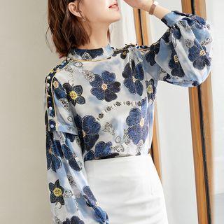 EFO - 泡泡袖小高领花朵印花雪纺上衣