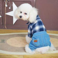 Puppy Love - 套裝: 寵物馬甲 + 格子及牛仔寵物連衣褲