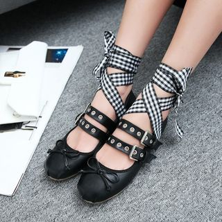 JY Shoes - Buckled Lace Up Flats