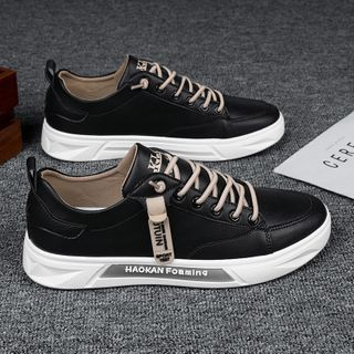 TATALON - Pure color Lace-Up leather Sneakers