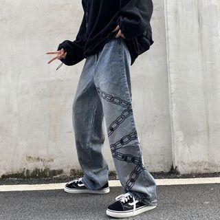 Banash(バナッシュ) - Print Washed Straight Leg Jeans