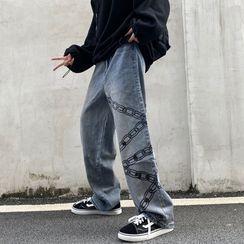Banash - Print Washed Straight Leg Jeans