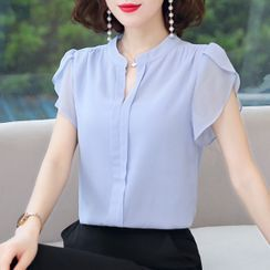 In the Mood - Short-Sleeve Chiffon Blouse