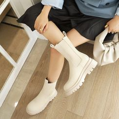 Kireina - Plain Platform Chelsea Short Boots