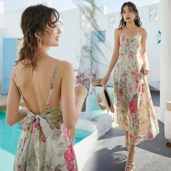 Glaypio - Floral Strappy Maxi Sun Dress