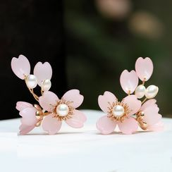 Kanzashi - Faux Pearl Flower Hair Stick