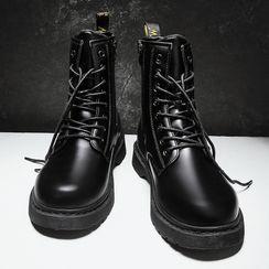 TATALON - Faux-Leather Lace-Up Short Boots