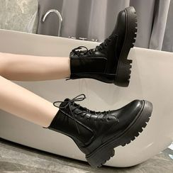 Weiya - Patent Platform Lace-Up Short Boots