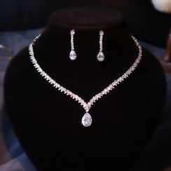 Neostar - Set: Wedding Rhinestone Pendant Necklace + Drop Earring