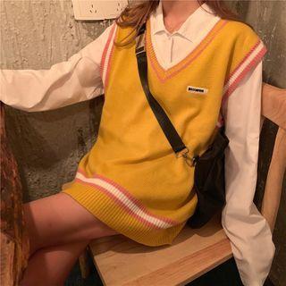 PINPI - Striped V-Neck Knit Vest / Long-Sleeve Plain Shirt