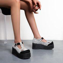 Udin - Leopard Print T-Bar Platform Shoes
