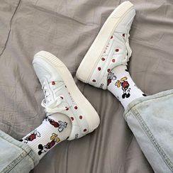 Shoeland - 草莓印花厚底系带休閒鞋