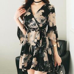 Aurora - Surplice Wrap Flared Sleeve Floral Chiffon Dress
