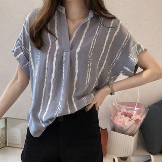 Appletin - Short-Sleeve Striped Blouse