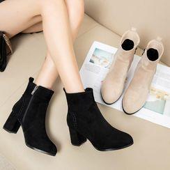 佳美 - 粗跟拉链短靴