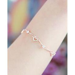 Miss21 Korea - Rhinestone Heart-Charm Chain Bracelet