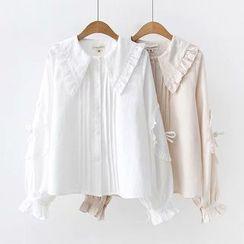 HANIA - 皱摺边细褶衬衫