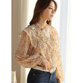 Styleonme - Balloon-Sleeve Frill-Trim Floral Blouse