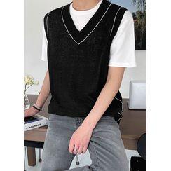 JOGUNSHOP - V-Neck Ringer Knit Vest