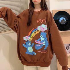 Florabbie - Oversize Long-Sleeve Printed Sweatshirt