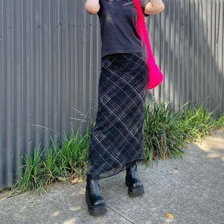 BrickBlack - 格子網紗長鉛筆裙