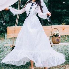 Kokuko - Long-Sleeve Ruffle Maxi Lace Dress