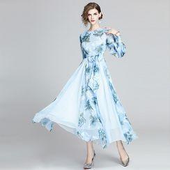 Staria - Flower Print Lantern-Sleeve A-Line Maxi Dress