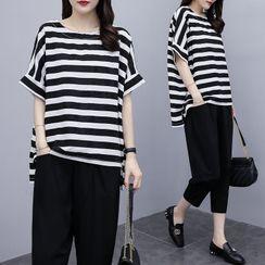 Onnell - Set: Short-Sleeve Striped T-Shirt + Harem Pants