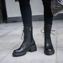 锦洋鞋业 - 厚底系带短靴