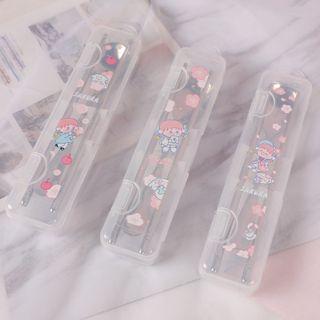 SASHI - Set: Stainless Steel Chopsticks + Spoon + Cartoon Print Case
