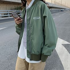 Chuoku - Letter Embroidered Zip Bomber Jacket