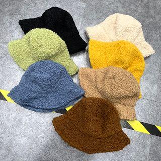 Cap Station - Plain Shearling Bucket Hat