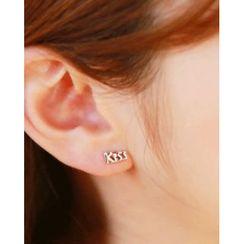 Miss21 Korea - Rhinestone / Star / Lips / Crescent / Lettering Stud Earring Set (10 PCS)