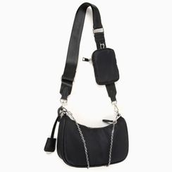 MERONGSHOP - Chain-Strap Hobo Bag with Pouch