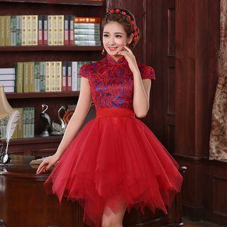Destine - Lace Panel Tulle Cocktail Dress