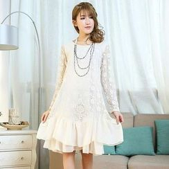 Blue Hat - Long-Sleeve Lace Dress