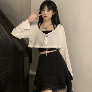 WIKPROM - Long-Sleeve Lace Trim T-Shirt / Cropped Camisole Top / Mini A-Line Skirt