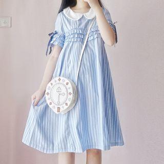 Tomoyo - Short-Sleeve A-Line Striped Dress