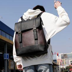 ETONWEAG - Faux Leather Two Tone Flap Backpack