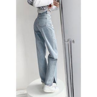 Shira - Slit-Hem Straight-Cut Jeans