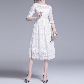 Seire - Elbow-Sleeve Midi A-Line Lace Dress